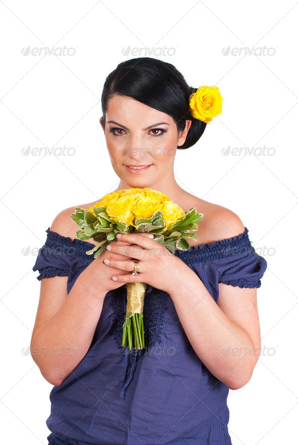 Beautiful woman holding yellow roses bouquet - Stock Photo - Images