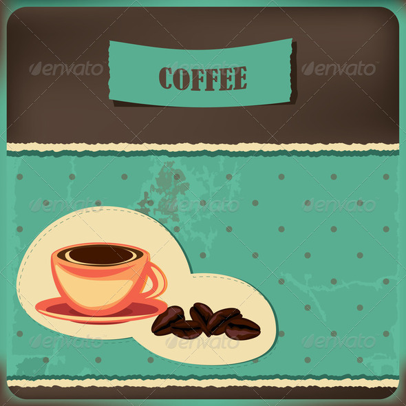 Coffee card with cup and beans - Stock Photo - Images