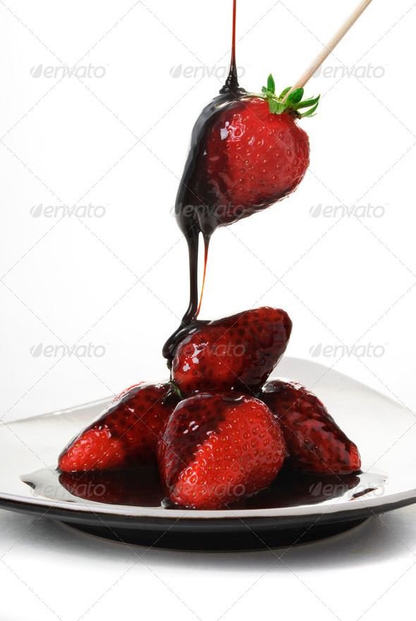 Strawberries in Chocolate - Stock Photo - Images