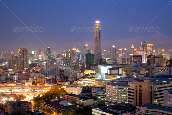 Aerial Bangkok Skylines - Stock Photo - Images