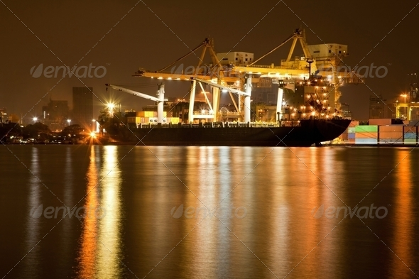 Shipyard Harbor at night - Stock Photo - Images