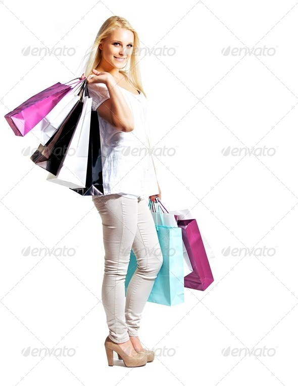 Young Happy Woman Shopping - Stock Photo - Images