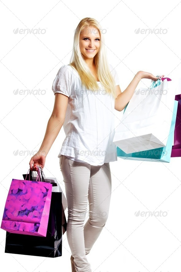 Happy Woman Shopping - Stock Photo - Images