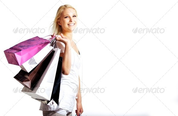 Young woman shopping - Stock Photo - Images