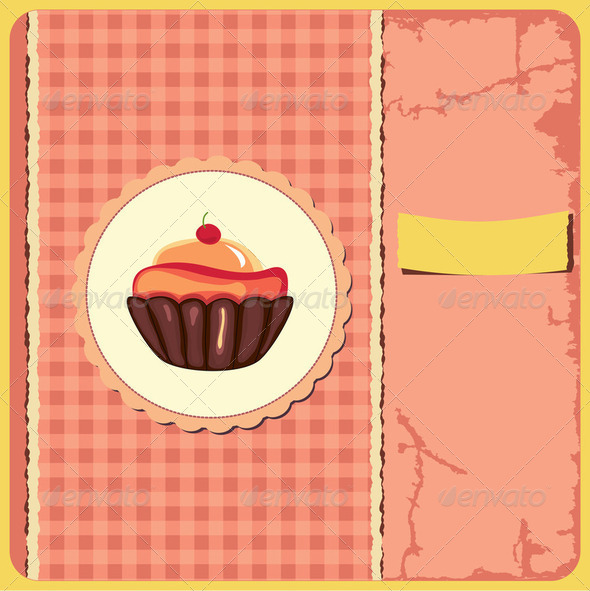 Cute retro cupcake - Stock Photo - Images