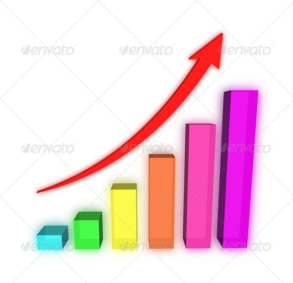 A bars graph, with an arrow going up - Stock Photo - Images