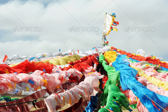 Colorful Tibetan prayer flags in a lamasery - Stock Photo - Images