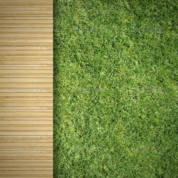 Wood and Grass - Stock Photo - Images