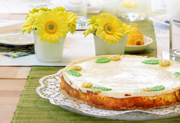 Cheesecake on coffee table - Stock Photo - Images