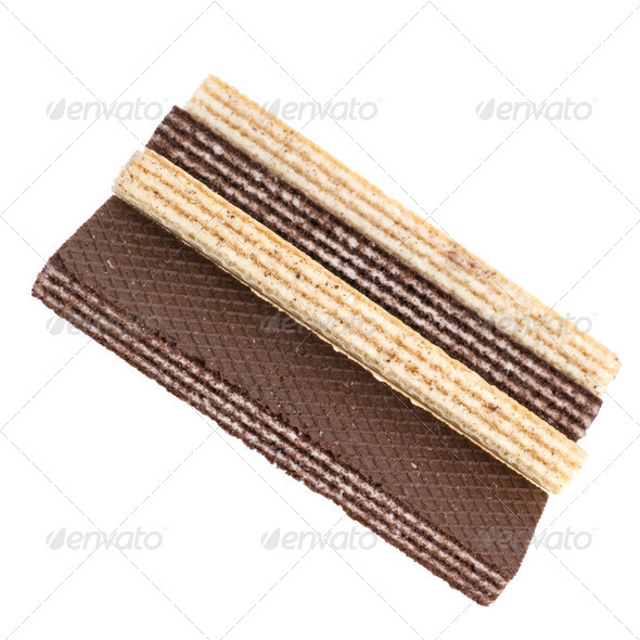 Wafers. Sweet easy snack. Vanilla and chocolate - Stock Photo - Images