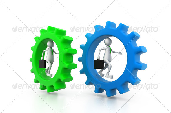 Business man running in gear. business competition concept - Stock Photo - Images