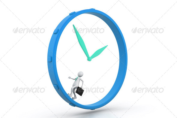 Business man  run and beat for time. - Stock Photo - Images