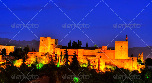 La Alhambra in Granada, Spain - Stock Photo - Images