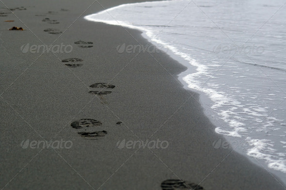 Footprints in Sand at the Beach - Stock Photo - Images