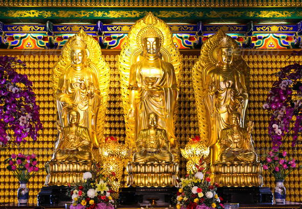 The three Buddhas in the Chinese temple of Thailand - Stock Photo - Images