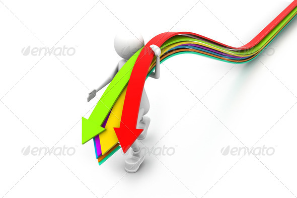 Business man and arrows. business concept - Stock Photo - Images