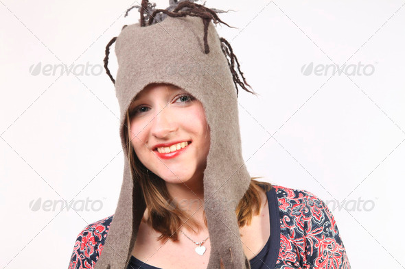 Beautiful girl with fun hat - Stock Photo - Images