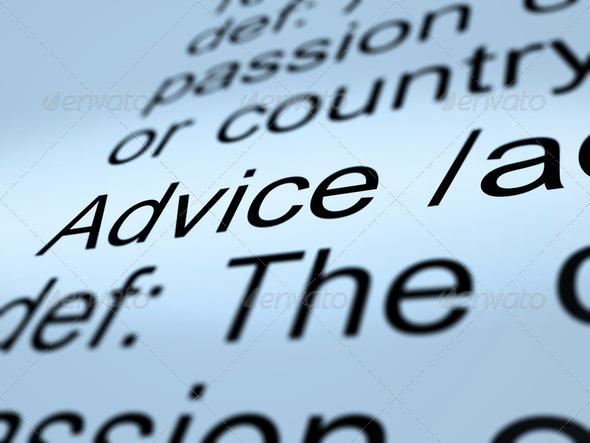 Advice Definition Closeup Showing Recommendation Help - Stock Photo - Images
