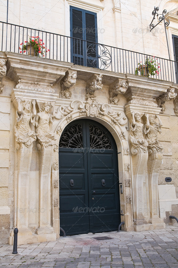 Marrese palace. Lecce. Puglia. Italy. - Stock Photo - Images
