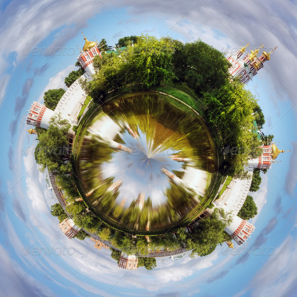 spherical panorama Novodevichy convent - Stock Photo - Images