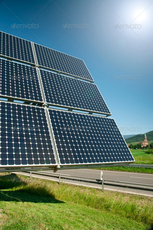 Solar Panel Against Blue Sky - Stock Photo - Images