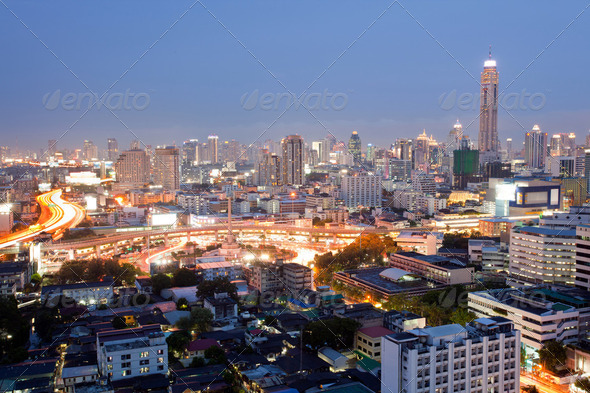 Bangkok Skylines downtown - Stock Photo - Images