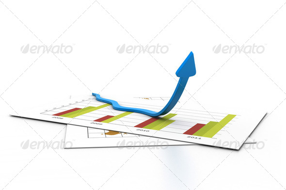 Arrow in chart. Business growth concept - Stock Photo - Images