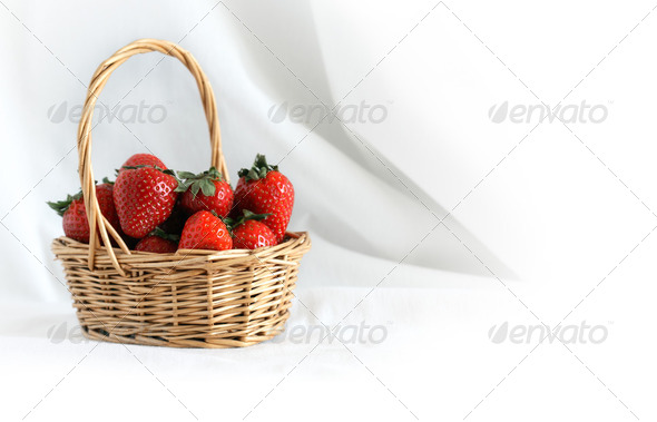 Strawberry In Basket - Stock Photo - Images