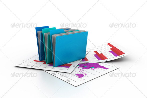 3d folders - Stock Photo - Images