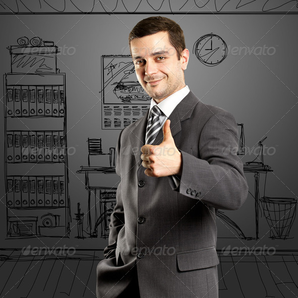 Business Man Shows Well Done - Stock Photo - Images