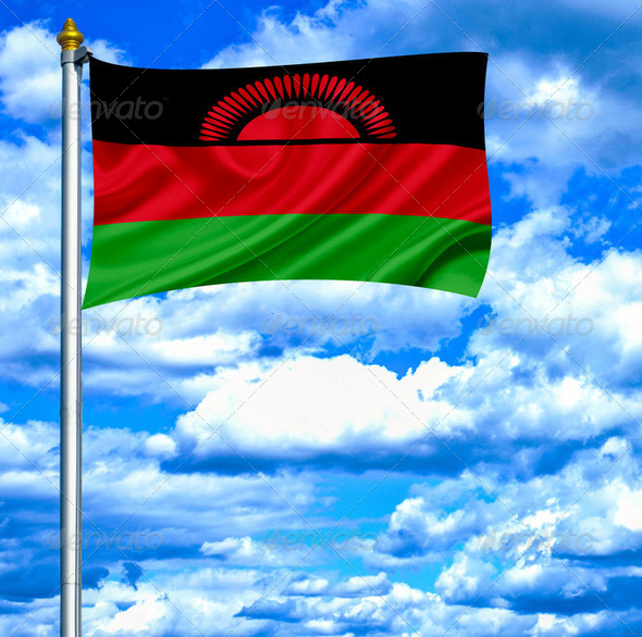 Malawi waving flag against blue sky - Stock Photo - Images