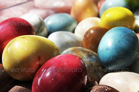 Colored Rock Eggs - Stock Photo - Images
