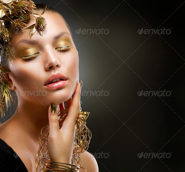 Golden Makeup. Luxury Fashion Girl Portrait - Stock Photo - Images