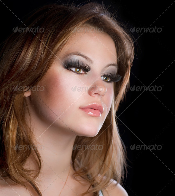 Fashion Makeup.Portrait of Beautiful Girl with Long Eyelashes - Stock Photo - Images