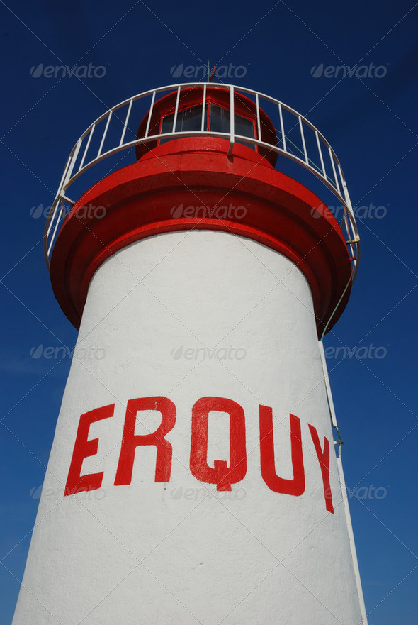 Lighthouse on a blue sky - Stock Photo - Images