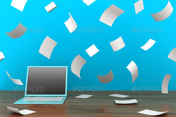 computer and documents - Stock Photo - Images