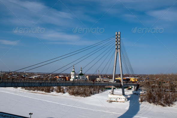 Suspension footbridge in the Tyumen, Siberia, Russia. - Stock Photo - Images