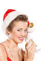 Attractive girl in Santa  hat with champagne glass - PhotoDune Item for Sale