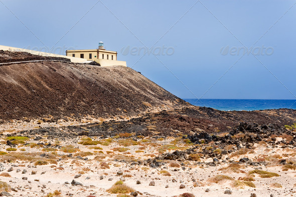 Lighthouse in Island of Lobos, Fuerteventura, Canary Islands, Sp - Stock Photo - Images