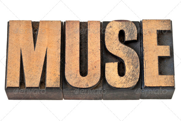 muse word in wood type - Stock Photo - Images