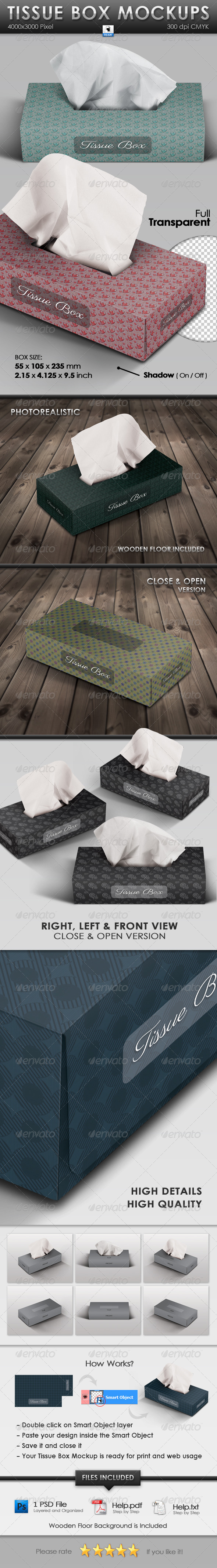 GraphicRiver Tissue Box Mockups 3355068