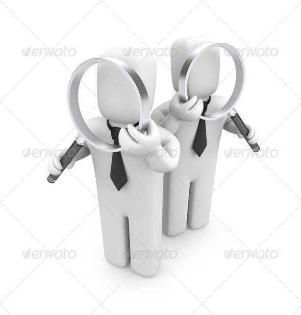 Group of businessmen with magnifying glasses. Audit - Stock Photo - Images
