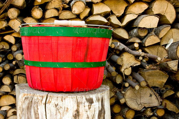 rustic bushel basket - Stock Photo - Images