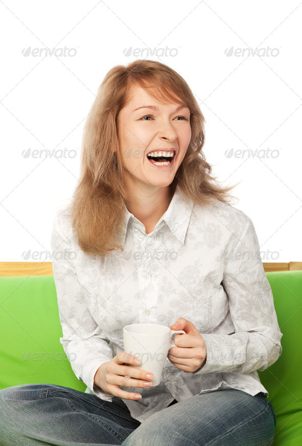 Laughing young blond woman - Stock Photo - Images