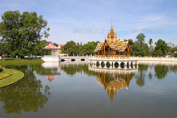 Palace center pond in Thailand water reflex. - Stock Photo - Images