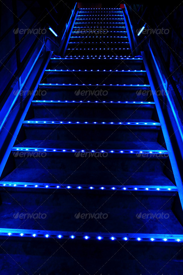 blue stairway - Stock Photo - Images