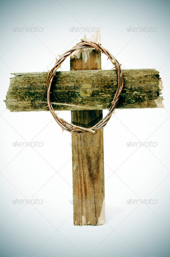 crown of thorns and cross - Stock Photo - Images