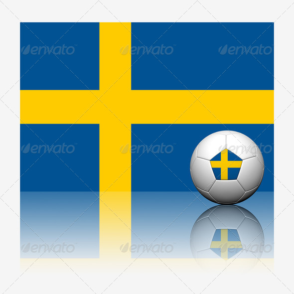 Sweden soccer football and flag with reflect on white background - Stock Photo - Images