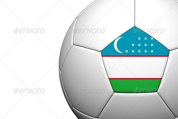 Uzbekistan Flag Pattern 3d rendering of a soccer ball - Stock Photo - Images