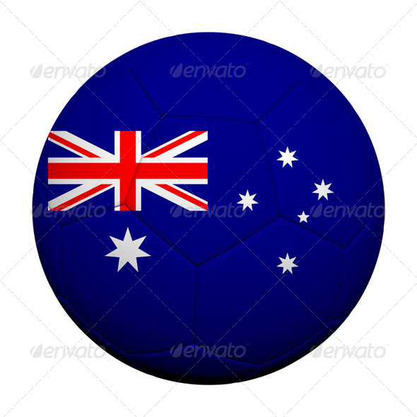 Australia Flag Pattern 3d rendering of a soccer ball - Stock Photo - Images